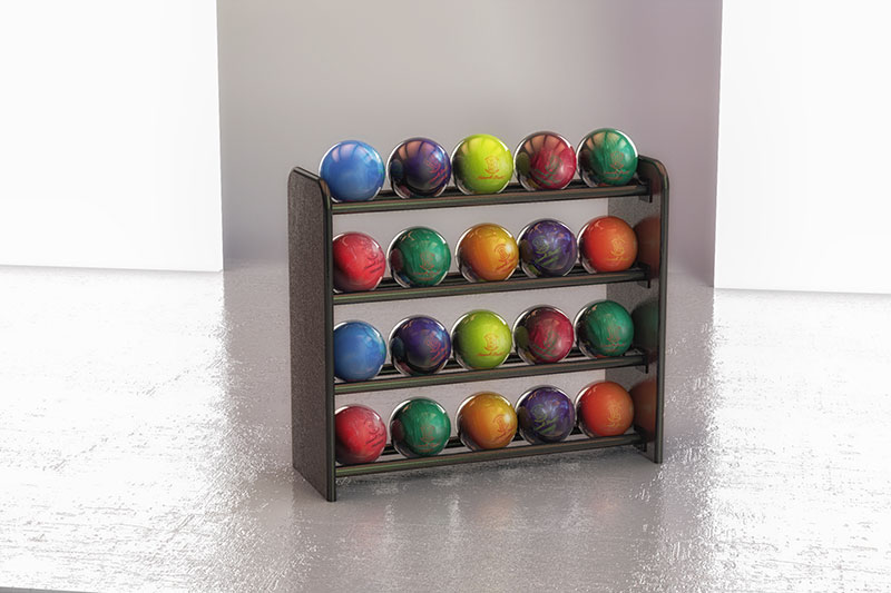 4 Rows Holds 20 Balls  sc 1 st  Bowling Furniture & BALL RACKS - Bowling Furniture